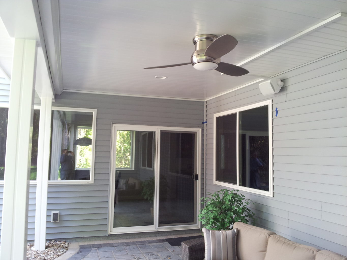 Underdeck ceiling fan and speakers