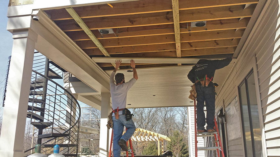 Start of Installing under deck paneling
