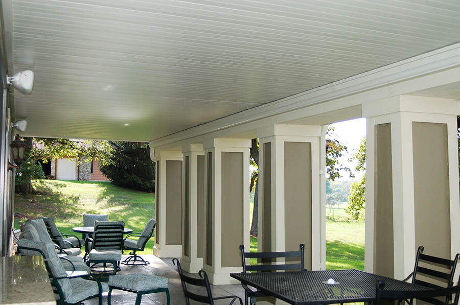 Finished wrapped columns on Comfort Zone deck