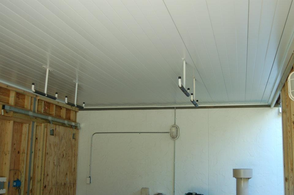 Interior hook system on finished Comfort Zone shed