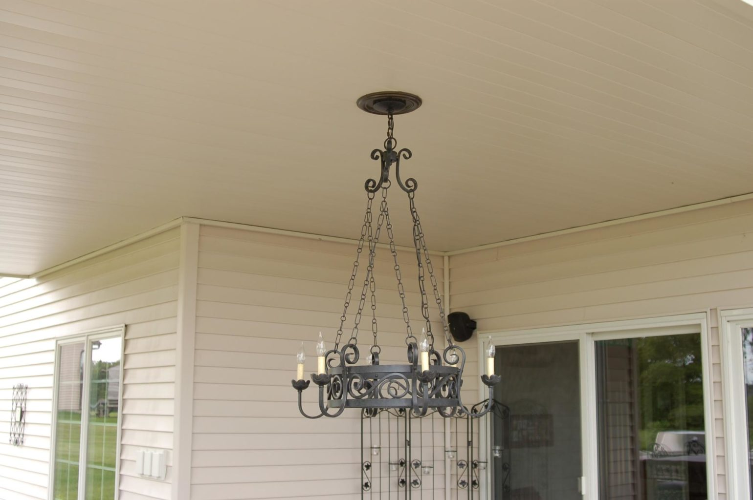 Haning chandelier on finished Comfort Zone deck