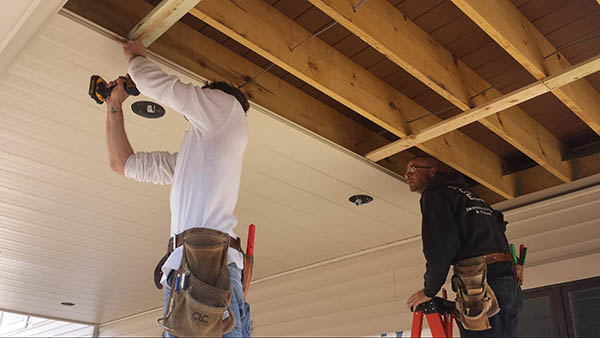 Installing white under deck panels