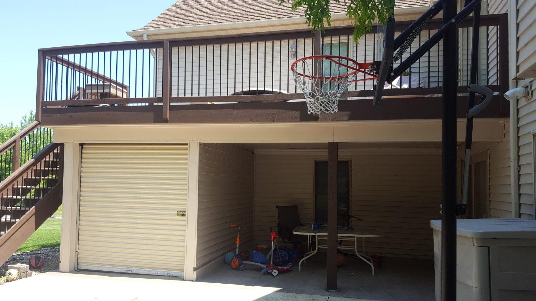 Storage Shed with garage door