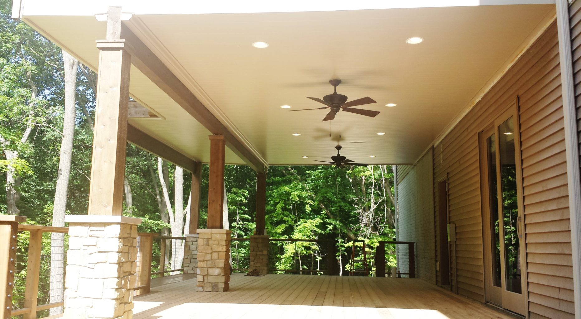 Underdeck ceiling with double fans