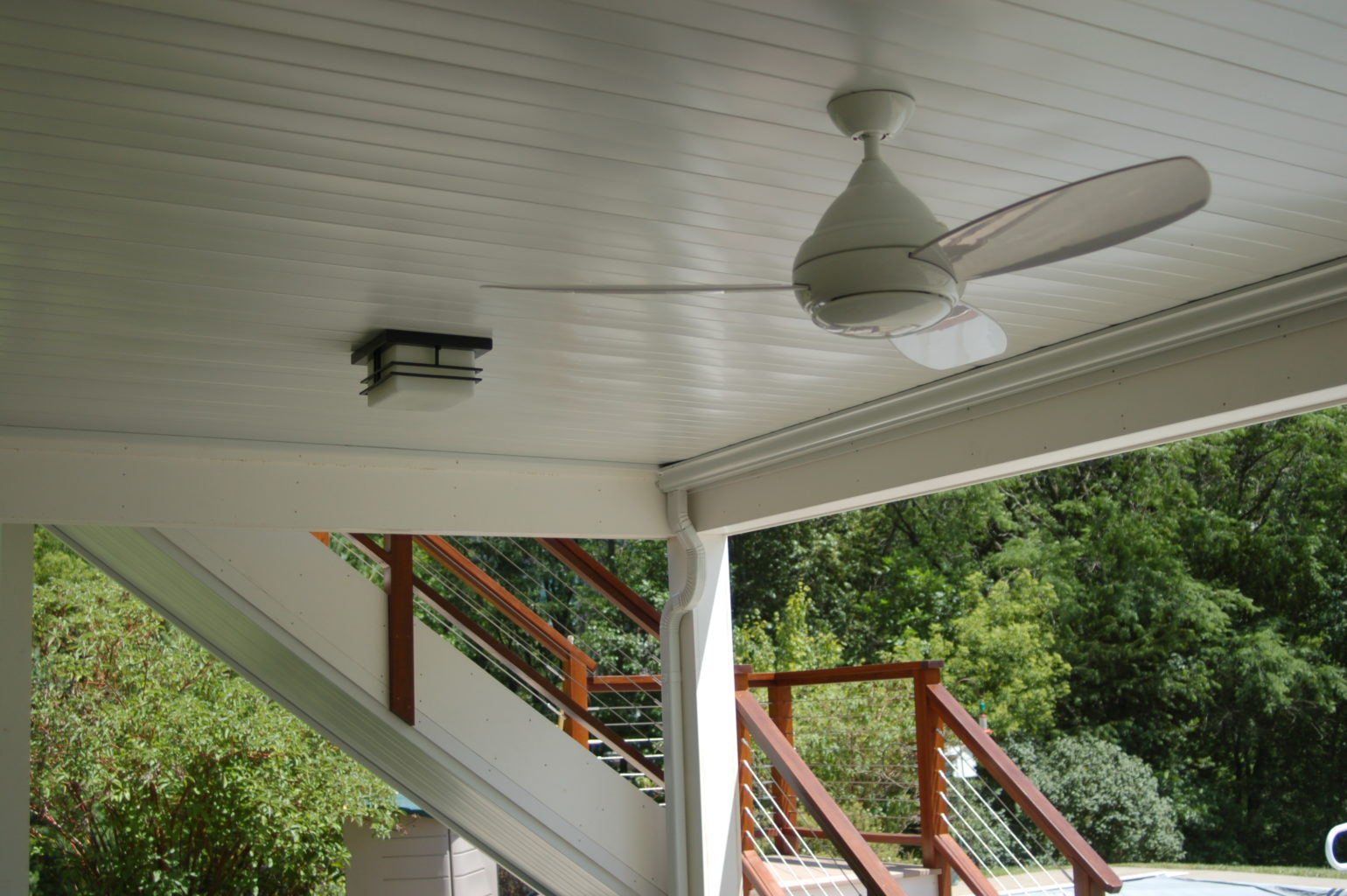 Underdeck ceiling with light and fan